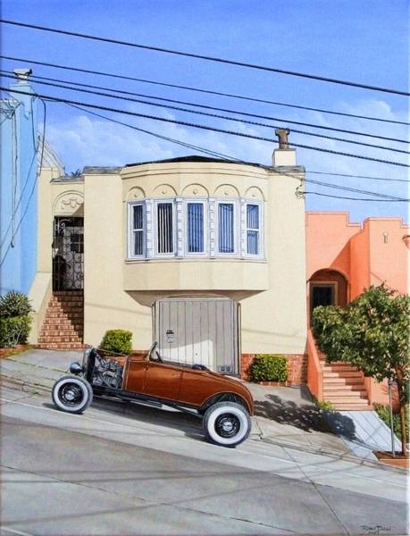 Roadster Wall Art - Painting - Row House And Roadster by Ruben Duran