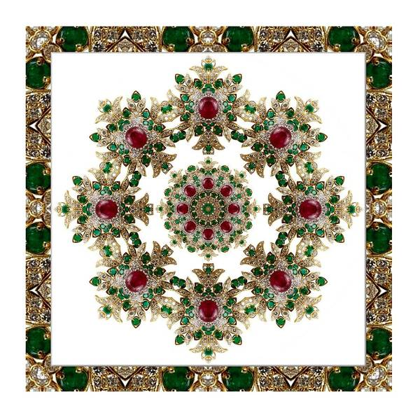 Digital Art - Ruby And Emerald Kaleidoscope by Charmaine Zoe
