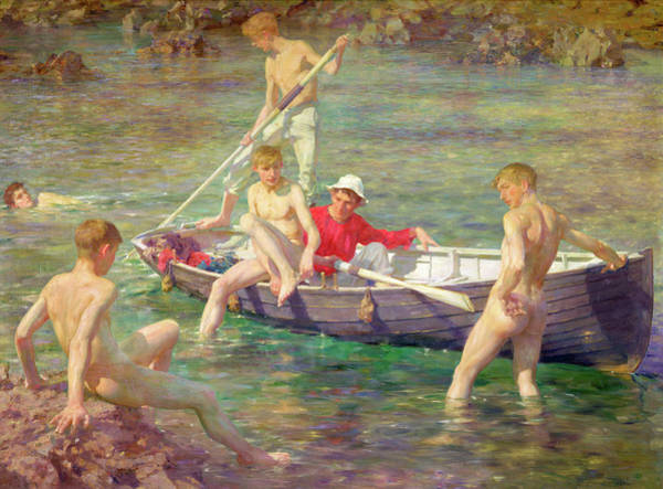 Wall Art - Painting - Ruby Gold And Malachite by Henry Scott Tuke