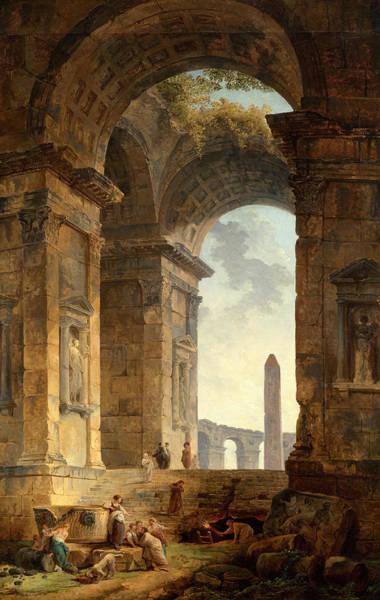 18th Century Wall Art - Painting - Ruins With An Obelisk In The Distance by Hubert Robert