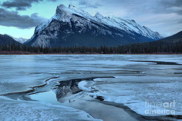 Photograph - Rundle Reflections In The Vermilion Lakes Water Channel by Adam Jewell