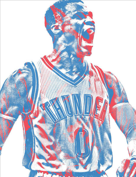 Wall Art - Mixed Media - Russell Westbrook Oklahoma City Thunder Pixel Art 31 by Joe Hamilton