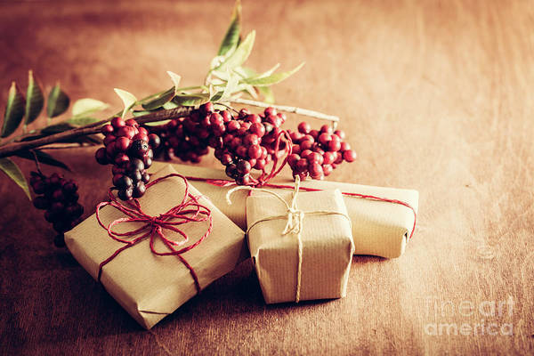 Light Box Photograph - Rustic Retro Gift, Present Boxes With Decorations. Christmas Time, Eco Paper Wrap. by Michal Bednarek