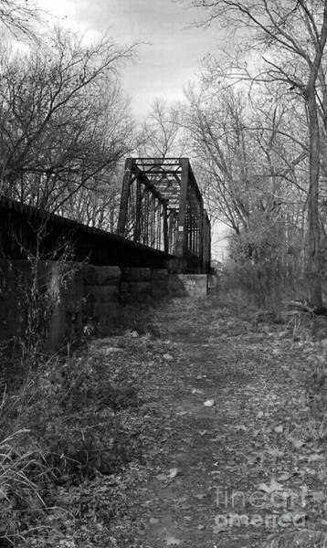 Millrace Wall Art - Photograph - Rusty Railroad Trestle Bridge - Bw by Scott D Van Osdol