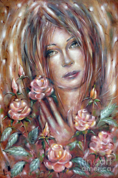 Painting - Sad Venus In A Rose Garden 060609 by Selena Boron