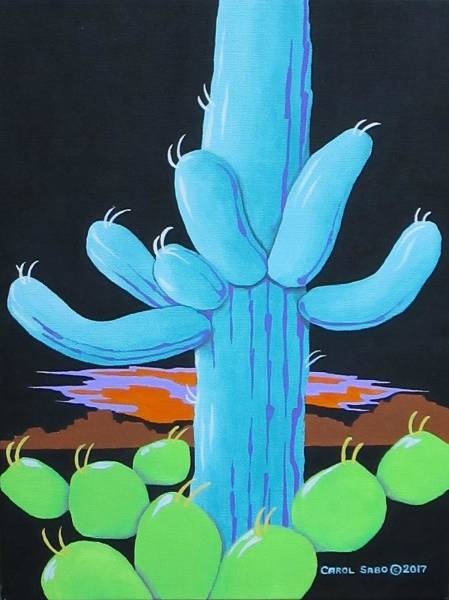 Wall Art - Painting - Saguaro Sunset by Carol Sabo