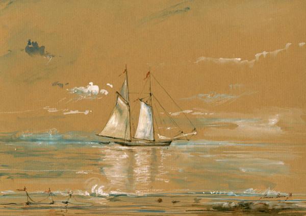 Nautical Painting - Sail Ship Watercolor by Juan  Bosco