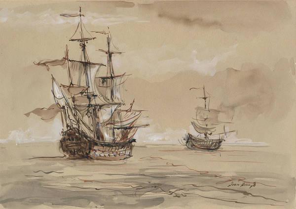 Wall Art - Painting - Sail Ships by Juan Bosco