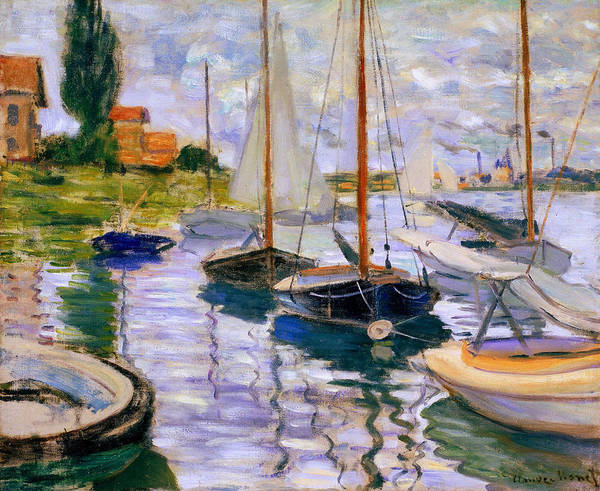 French Painter Wall Art - Painting - Sailboats On The Seine  by Claude Monet