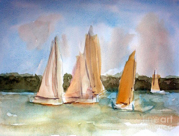 Sailboat Wall Art - Painting - Sailing  by Julie Lueders