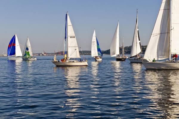 Sailing On Elliott Bay Art Print by Tom Dowd