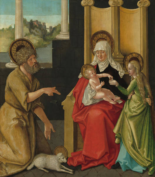 Saint Anne Painting - Saint Anne With The Christ Child - The Virgin And Saint John The Baptist by Mountain Dreams