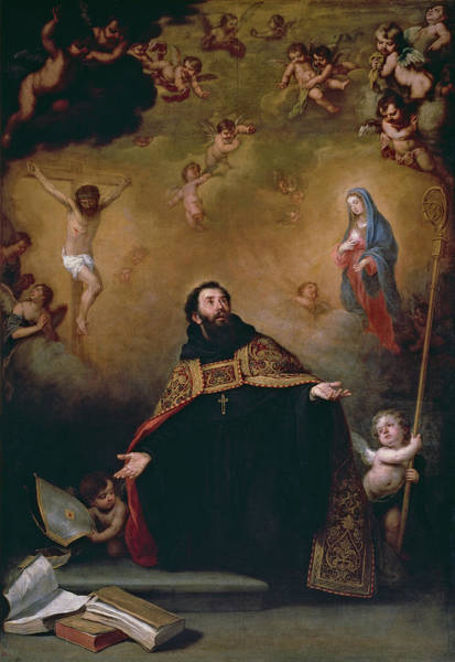 Redeemer Wall Art - Painting - Saint Augustine Between Christ And The Virgin by Bartolome Esteban Murillo