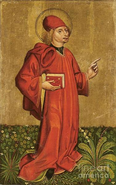 Circa Painting - Saint Clemens Saint Holding A Book  by MotionAge Designs