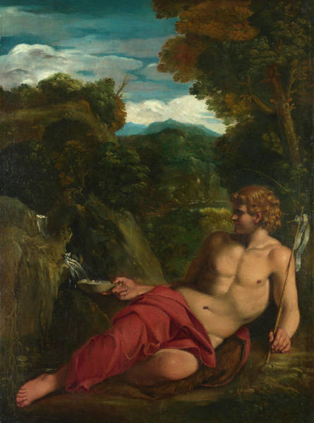 Lamb Of God Wall Art - Painting - Saint John The Baptist Seated In The Wilderness by Circle of Annibale Carracci