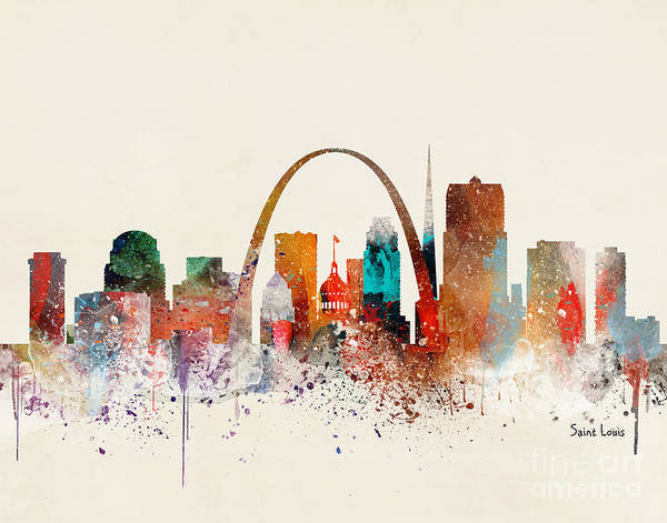 Wall Art - Painting - Saint Louis Skyline by Bri Buckley