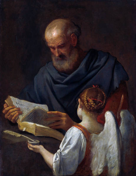 Painting - Saint Matthew And The Angel by Simone Cantarini