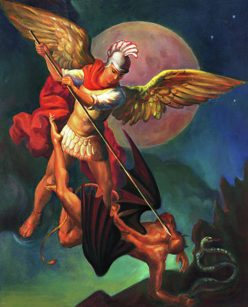 Power Wall Art - Painting - Saint Michael The Warrior Archangel by Svitozar Nenyuk