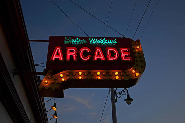 Photograph - Salem Willows Arcade Sign by Toby McGuire