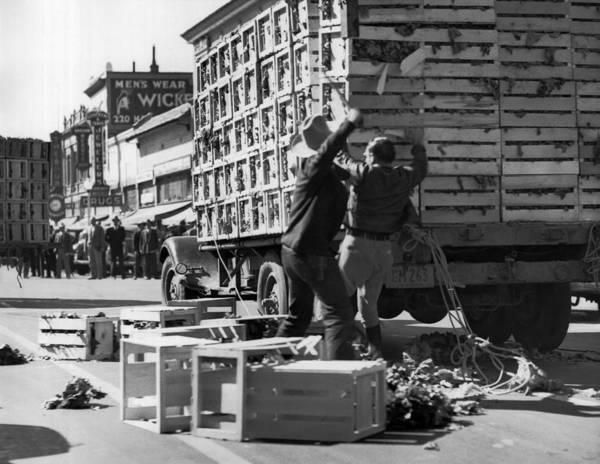 Wall Art - Photograph - Salinas Lettuce Strike Battles by Underwood Archives
