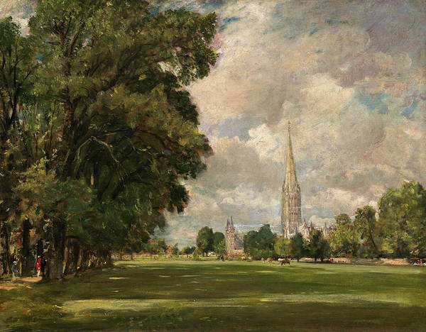 Wall Art - Painting - Salisbury Cathedral From Lower Marsh Close by John Constable