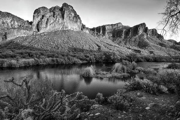 Photograph - Salt River Reflections In Black And White by Dave Dilli