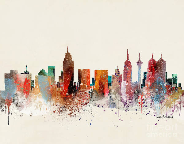 Wall Art - Painting - San Antonio Skyline  by Bri Buckley