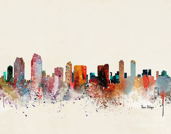 Wall Art - Painting - San Diego Skyline by Bri Buckley