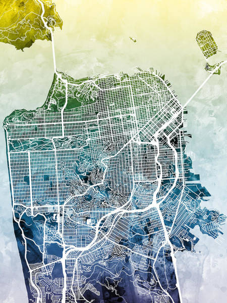 California Wall Art - Digital Art - San Francisco City Street Map by Michael Tompsett