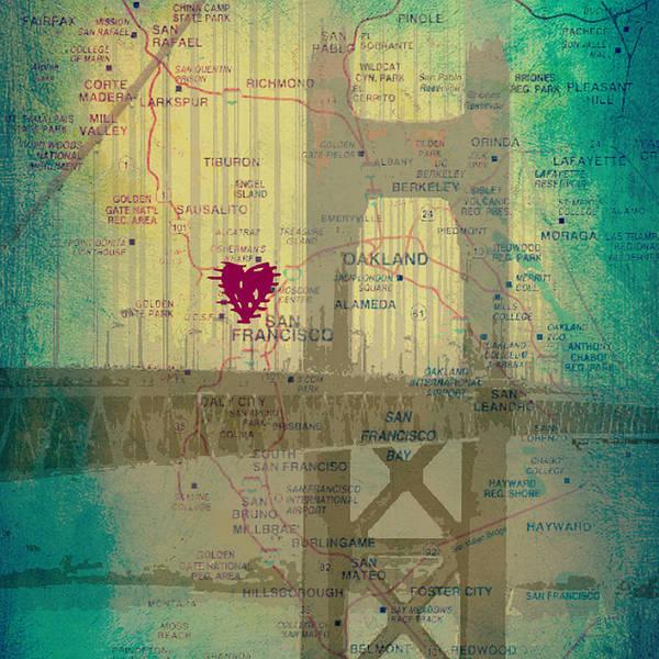West Bay Digital Art - San Francisco Heart Map V4 by Brandi Fitzgerald