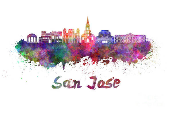 Central America Painting - San Jose Skyline In Watercolor by Pablo Romero