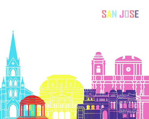 Central America Painting - San Jose Skyline Pop by Pablo Romero