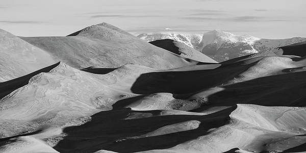 Wall Art - Photograph - Monochrome Sand Dunes And Rocky Mountains Panorama by James BO Insogna