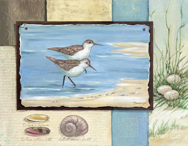 Beach Collage Painting - Sandpiper Collage I by Paul Brent