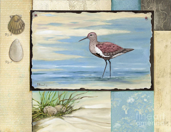 Beach Collage Painting - Sandpiper Collage II by Paul Brent