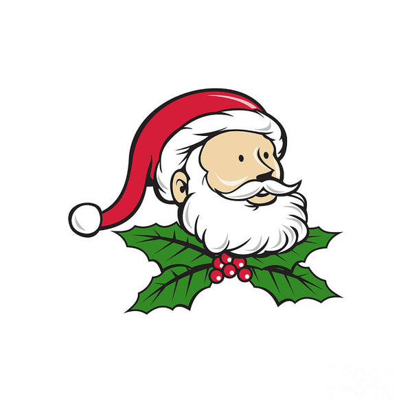 Yule Digital Art - Santa Claus Father Head Christmas Holly Cartoon by Aloysius Patrimonio