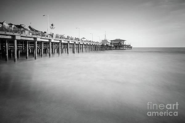 Santa Monica Pier Photograph - Santa Monica Pier Black And White Photo by Paul Velgos