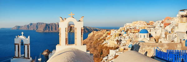 Photograph - Santorini Skyline Bell Tower by Songquan Deng