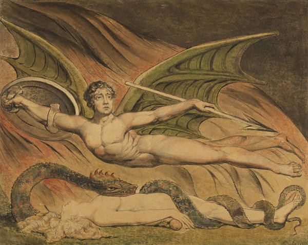 Satan Painting - Satan Exulting Over Eve by William Blake