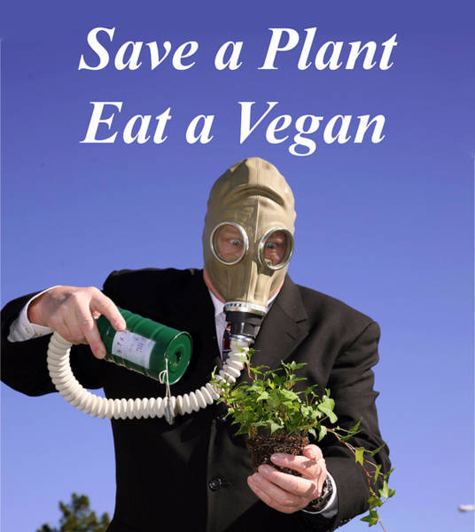 Gasmask Photograph - Save A Plant Eat A Vegan by Michael Ledray