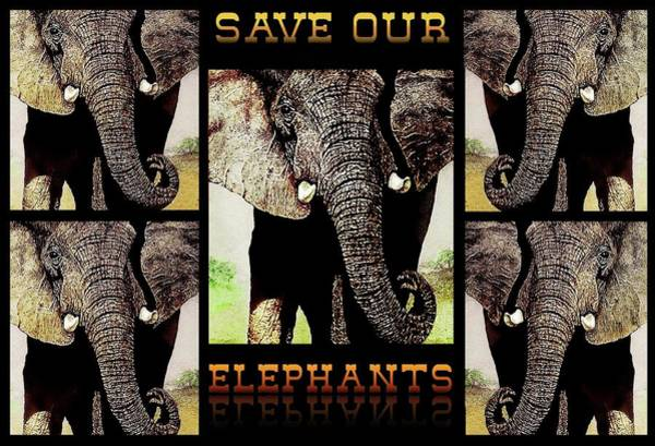Painting - Save  Our  Endangered  Elephants by Hartmut Jager