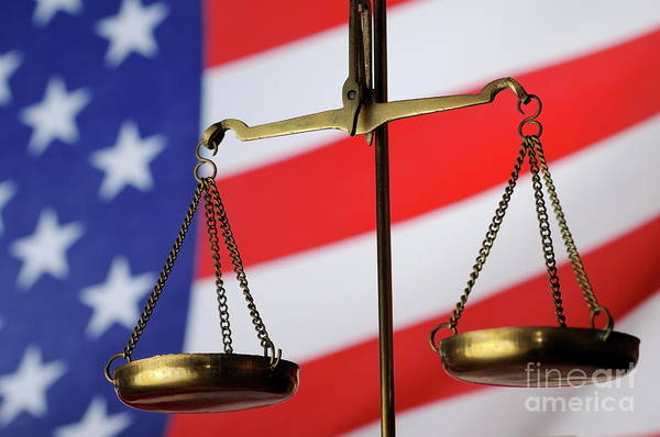 Equality Wall Art - Photograph - Scales Of Justice And American Flag by Sami Sarkis