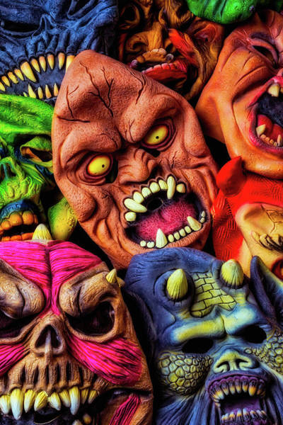 Wall Art - Photograph - Scary Halloween Masks by Garry Gay