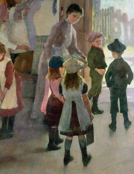 Newlyn Painting - School Is Out by Elizabeth Adela Stanhope Forbes