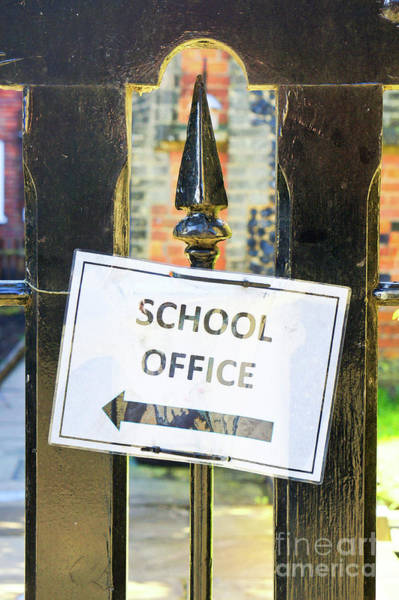 Wall Art - Photograph - School Office Sign by Tom Gowanlock
