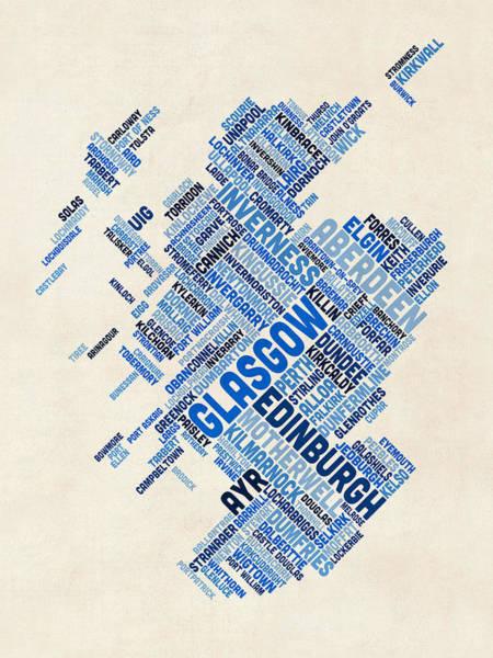 Text Map Digital Art - Scotland Typography Text Map by Michael Tompsett