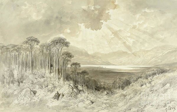 Crayon Drawing - Scottish Landscape by Gustave Dore
