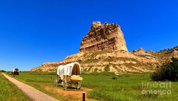 Photograph - Scotts Bluff Wagon Train by Adam Jewell