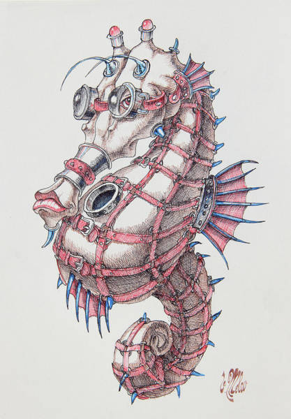 Drawing - Seahorse In Steampunk by Victor Molev