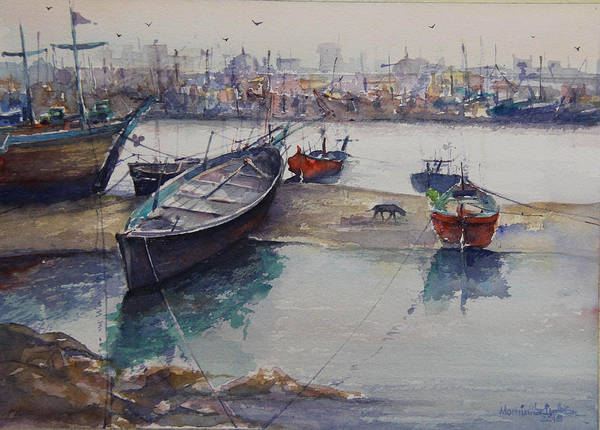 Wall Art - Painting - Seascape by Momin Khan